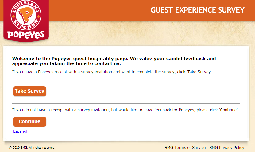 TellPopeyes.com Guest Satisfaction Survey